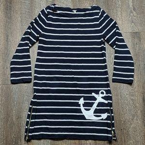 J Crew Nautical Anchor Dress Striped Sailor